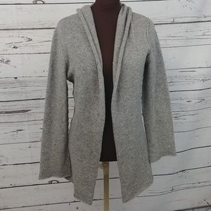 CAbi Gray Lambs Wool Hooded Open Front Sweater